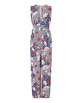 Yumi Curves Floral Stripe Wrap Jumpsuit