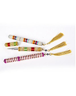 3 Beaded Pens in Pouch