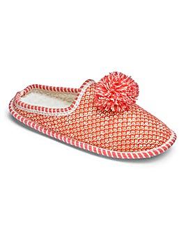 Heavenly Soles Glitter Pom Slippers