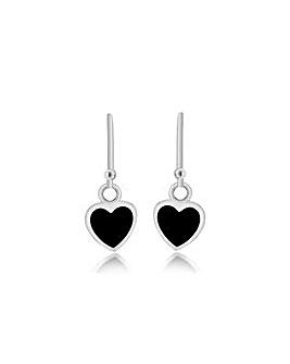 Sterling Silver Onyx Heart Drop Earrings