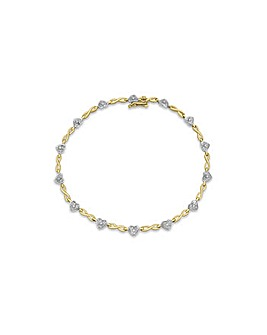 9Ct Gold & Diamond Heart Twist Bracelet
