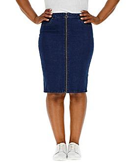 Vero Moda Marina Zip Denim Midi Skirt