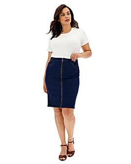 Vero Moda Marina Zip Denim Midi Skirt
