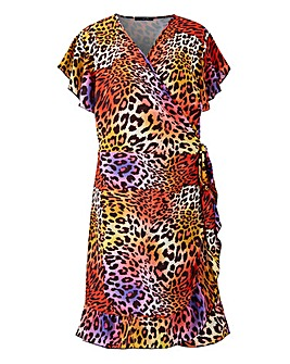 Quiz Curve Animal Wrap Dress