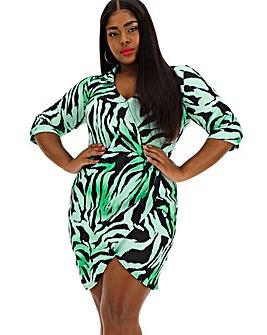 Quiz Curve Zebra Print Wrap Dress