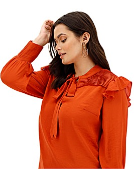 Lovedrobe Pleated High Neck Blouse