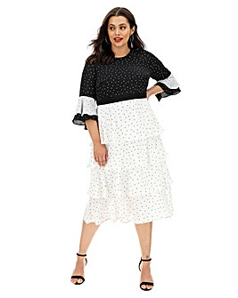 Lovedrobe Mono-Spot Print Tiered Dress