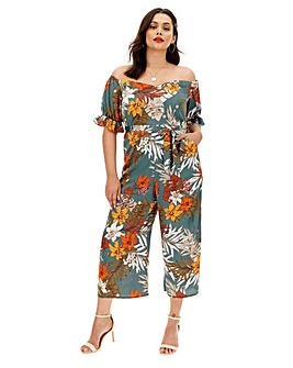 Lovedrobe Floral Print Bardot Jumpsuit with Ruffle Sleeves