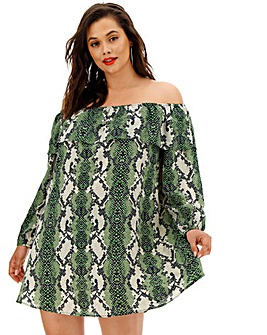 Glamorous Green Snake Print Bardot Dress
