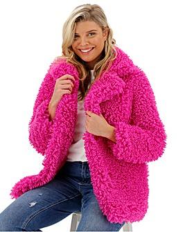 Glamorous Teddy Fur Hot Pink Coat