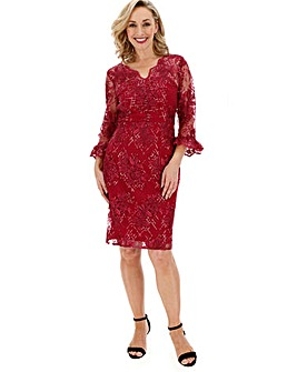 Gina Bacconi 3/4 Sleeve Lace Dress