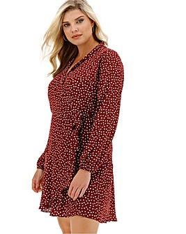 Oasis Curve Heart Print Wrap Dress