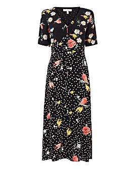 Oasis Curve Spot Button Midi Dress