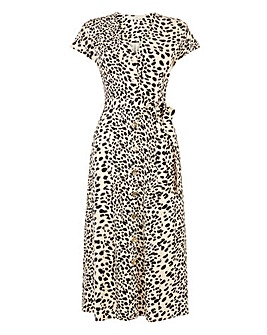Oasis Curve Dalmatian Print Button Dress