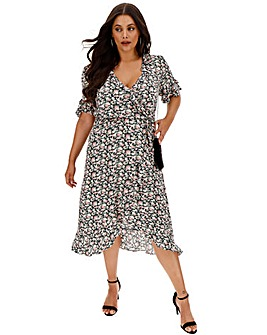 Oasis Curve Crushed Ditsy Midi Dress