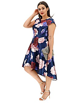 Chi Chi London Floral Print Dip Dress