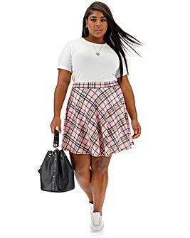 Pink Clove Check Skater Skirt