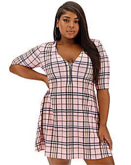 Pink Clove V Neck Check Dress