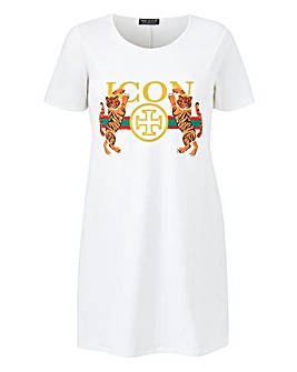 Pink Clove Icon Tiger Slogan Tee Dress