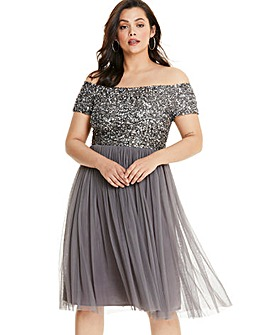 Maya Curve Bardot Sequin Midi Dress
