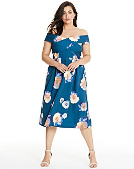 Chi Chi London Floral Print Bardot Dress