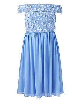 Chi Chi London 3D Floral Bardot Dress
