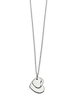 Sterling Silver Double Heart Tag Pendant