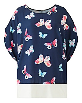 Quiz Curve Butterfly Cold Shoulder Top
