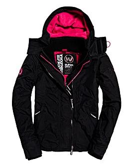 SuperDry Black and Pink Double Zip Coat