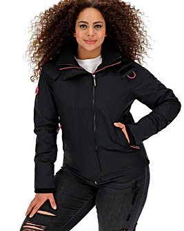 SuperDry Black and Pink Double Zip Coat