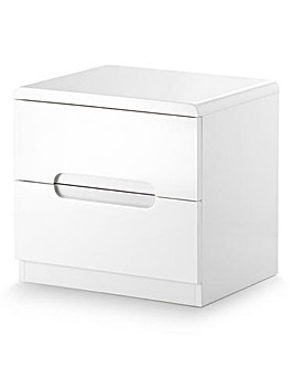 Morgan High Gloss 2 Drawer Bedside Table
