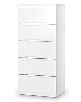 Morgan High Gloss 5 Drawer Narrow Chest