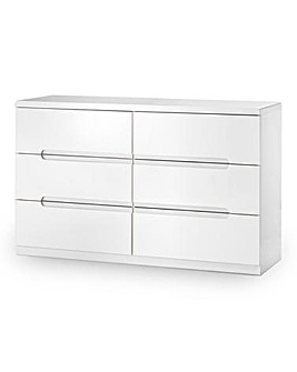 Morgan High Gloss 6 Drawer Wide Chest