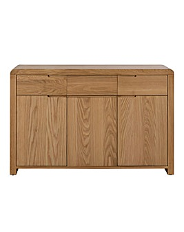 Malmo Curve Oak 3 Door 3 Drawer Sideboard