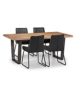 Camden Oak Table 4 Shoreditch Chairs