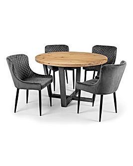 Camden Oak Round Table With 4 Sloane Chairs