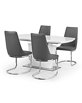 Santo Extending Gloss Table & 4 Chairs