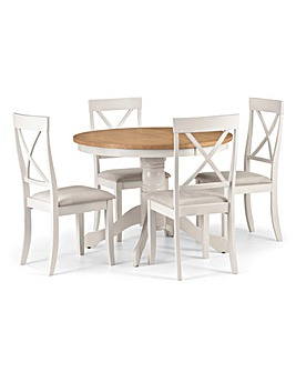 Paignton Round Pedestal Dining Table With 4 Chairs