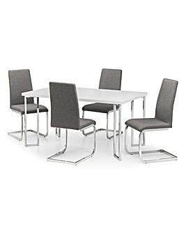Morgan High Gloss Table & 4 Zeta Chairs
