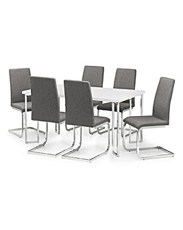 Morgan High Gloss Table & 6 Zeta Chairs