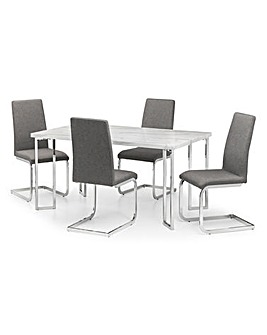 Rimini Dining Table With 4 Zeta Chairs