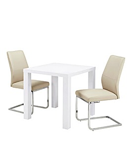 Halo High Gloss Square Dining Table with 2 Atlanta Chairs