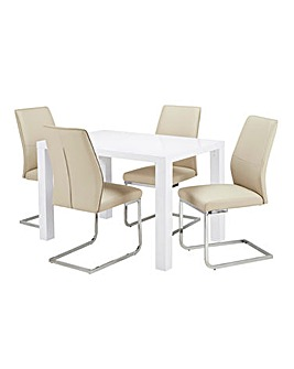 Halo High Gloss Rectangular Dining Table with 4 Atlanta Chairs