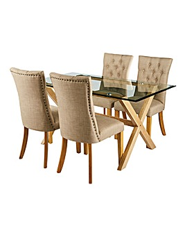 Wellington Rectangular Dining Table & 4 Shaftsbury Chairs