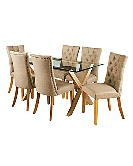 Wellington Rectangular Dining Table & 6 Shaftsbury Chairs