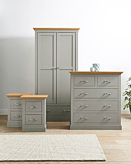 Ashford 4 Piece Bedroom Package (2 x Bedside, 6 Drawer Chest, 3 Door Wardrobe)