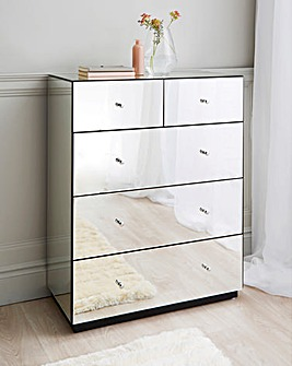 Deco Assembled Mirrored 3+2 Drawer Chest