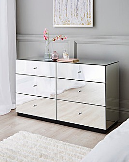 Deco Assembled Mirrored 6 Drawer Wide Chest