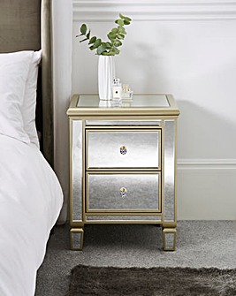 Isabella Assembled Mirrored Bedside Table