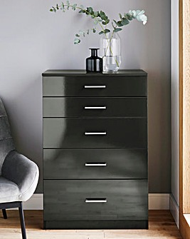 Porto Gloss 5 Drawer Graduated Chest